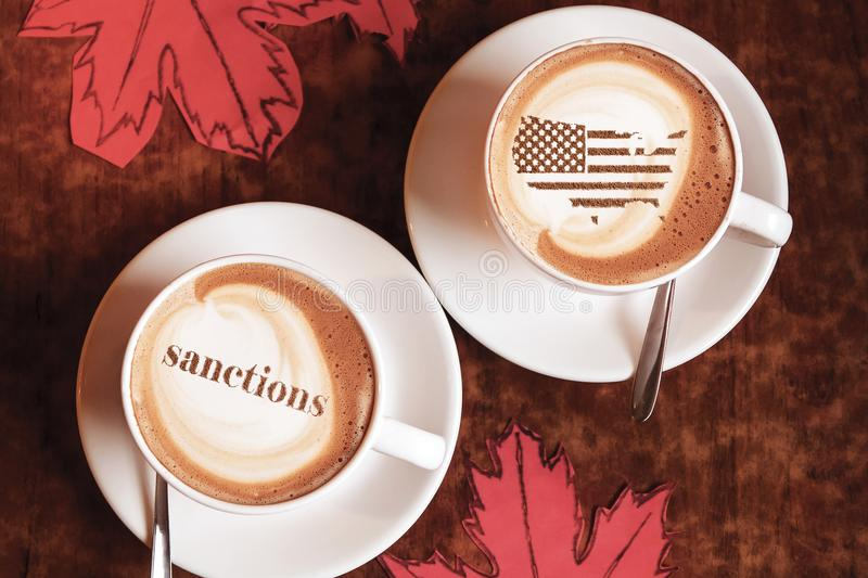 America threatens sanctions. America threatens with imposing economic sanctions for not meeting the conditions royalty free stock photo