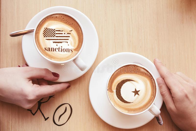 America threatens sanctions. America threatens with imposing economic sanctions for not meeting the conditions stock image