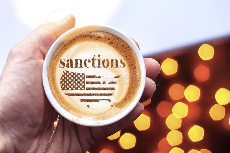 America threatens sanctions. America threatens with imposing economic sanctions for not meeting the conditions royalty free stock images