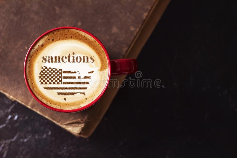 America threatens sanctions. America threatens with imposing economic sanctions for not meeting the conditions stock photo