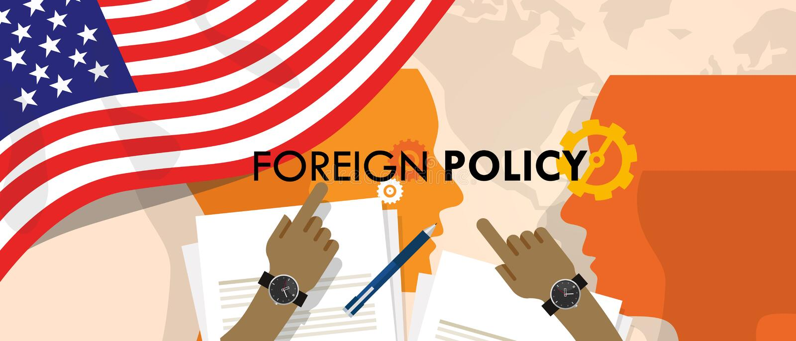 America US foreign policy diplomacy international relations between country in the world stock illustration