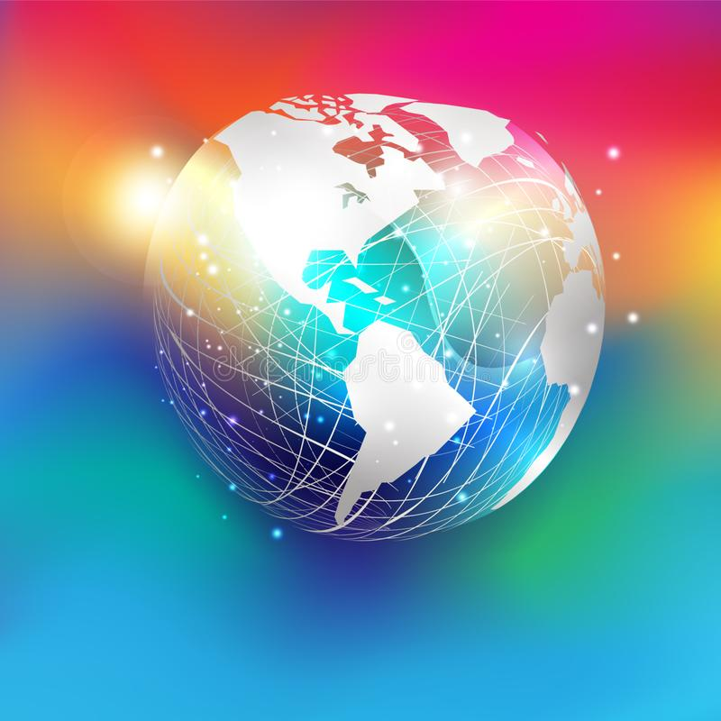 America. White paper cut style world map on abstract mesh sphere and glitter  put on colorful gradient background. stock illustration