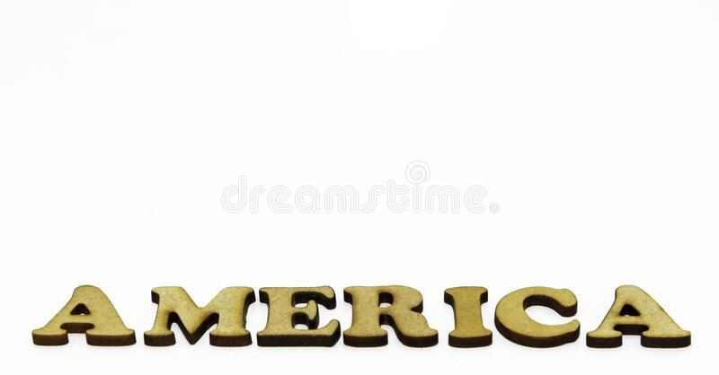 America written on a white background. stock image