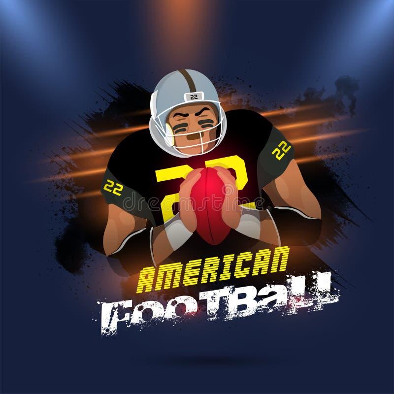 Americal与守门员的橄榄球概念发光的蓝色backgrou的 皇族释放例证