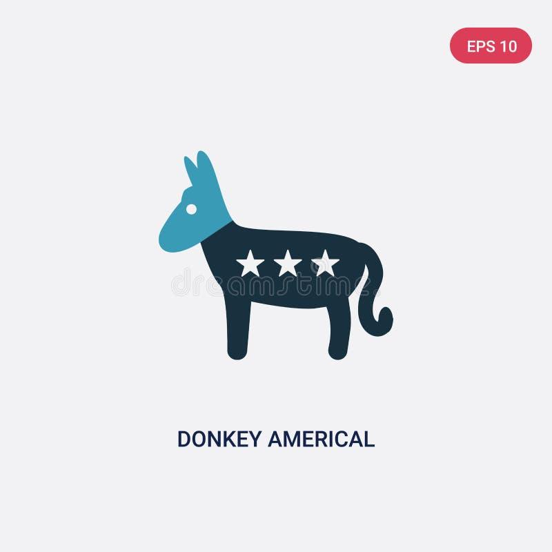 Americal πολιτικό διανυσματικό εικονίδιο γαιδάρων δύο χρώματος από την πολιτική έννοια απομονωμένο μπλε σύμβολο σημαδιών γαιδάρων απεικόνιση αποθεμάτων