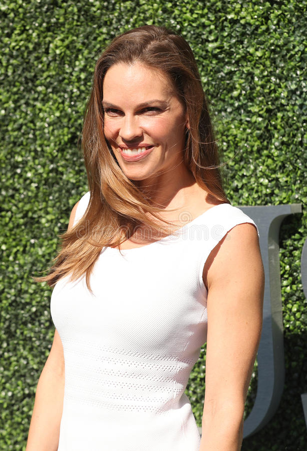 American actor and producer Hilary Swank at the red carpet before US Open 2016 men`s final match. NEW YORK - SEPTEMBER 11, 2016: American actor and producer royalty free stock photo