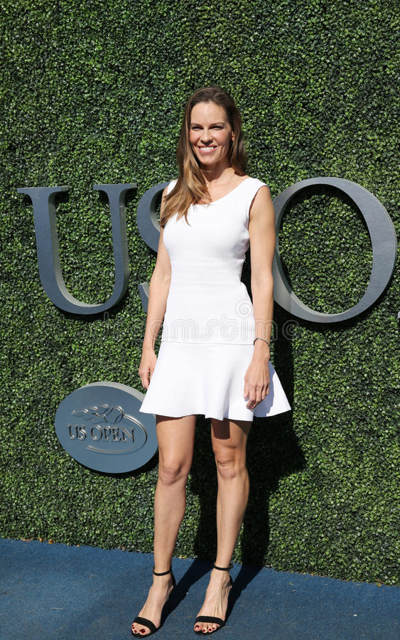 American actor and producer Hilary Swank at the red carpet before US Open 2016 men`s final match. NEW YORK - SEPTEMBER 11, 2016: American actor and producer stock photography