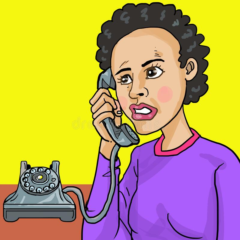 Free American African Woman Make Call Using Old Phone Royalty Free Stock Images - 169450749