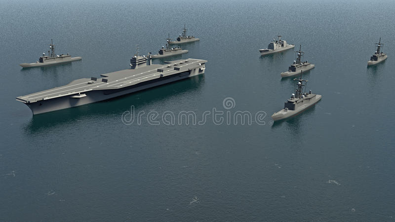 American Aircraft Carrier with destroyers and a cruiser in the Pacific Ocean towards North Koreaì. American Aircraft Carrier with destroyers and a cruiser in stock illustration