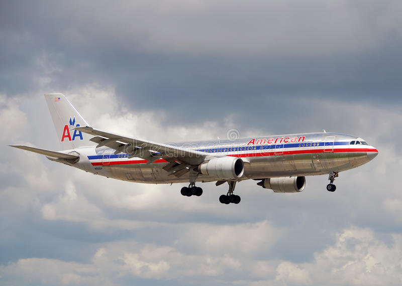 American Airlines A-300 Jet Landing Editorial Stock Photo