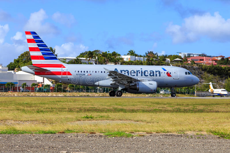 American Airlines Airbus A319. At St. Maarten in the Caribbean stock photography