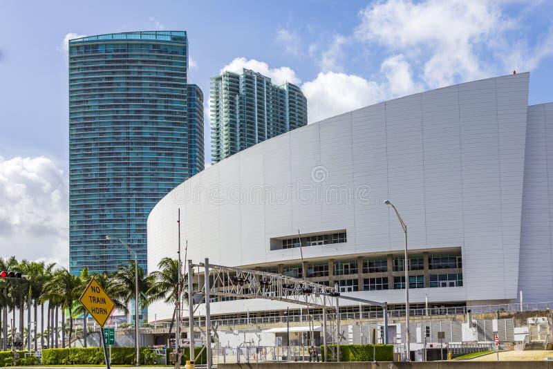 American Airlines arena Returnera av den Miami värmebasketlagen royaltyfri fotografi