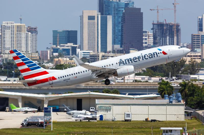 American Airlines Boeing 737-800 airplane Fort Lauderdale airport. Fort Lauderdale, Florida – April 6, 2019: American Airlines Boeing 737-800 airplane at stock images