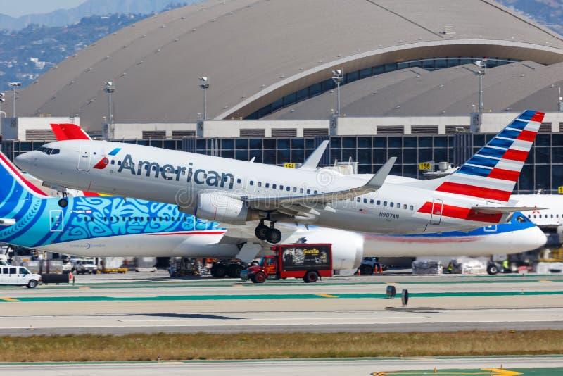 American Airlines Boeing 737-800 airplane Los Angeles airport. Los Angeles, California – April 12, 2019: American Airlines Boeing 737-800 airplane at Los royalty free stock photo