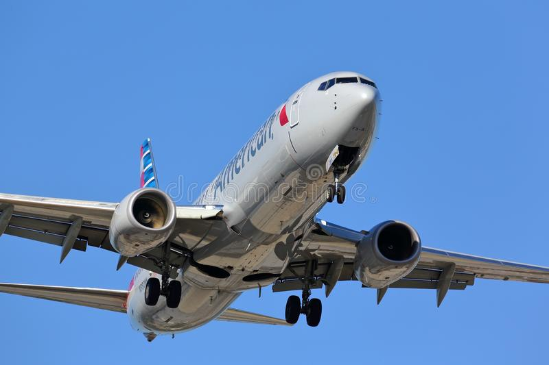 American Airlines Boeing 737 approaching runway stock photos
