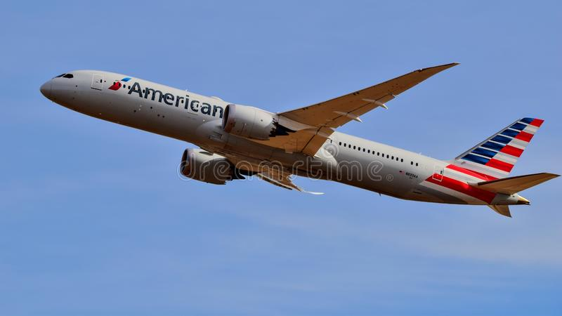 American Airlines Boeing B787 taking off. royalty free stock photos