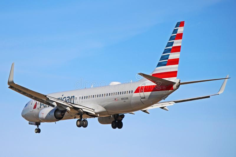 American Airlines Boeing 737-800 Rear View royalty free stock photo