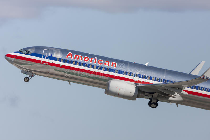 American Airlines Boeing 737-800 taking off from Los Angeles International Airport. royalty free stock image