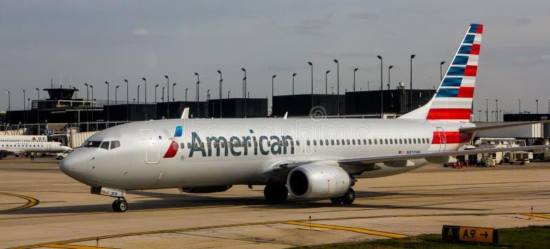 American Airlines jet. An American Airlines jet on the tarmac waiting to take off stock photos