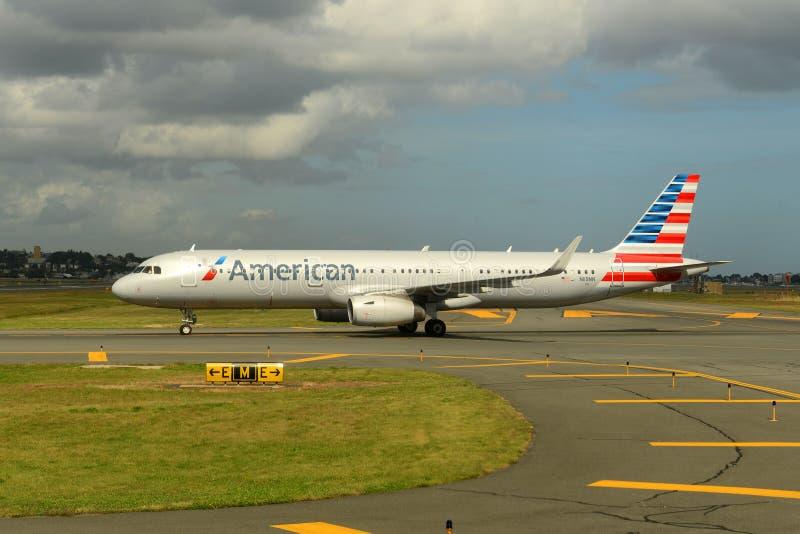 American Airlines-Luchtbus 321 bij Nanjing-Luchthaven stock afbeeldingen