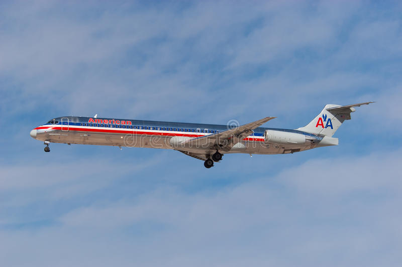 American Airlines McDonnell Douglas MD-82 royalty free stock photo