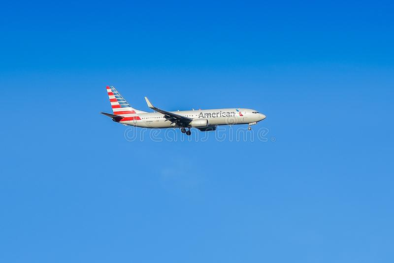 American Airlines Plane on Approach to RCA royalty free stock photography