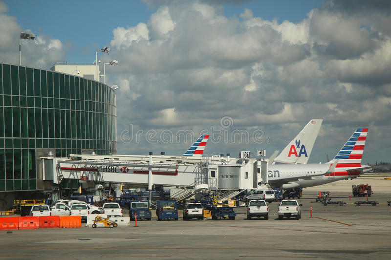 American Airlines planes on tarmac at Miami International Airport. MIAMI, FLORIDA - MAY 29, 2016: American Airlines planes on tarmac at Miami International royalty free stock image
