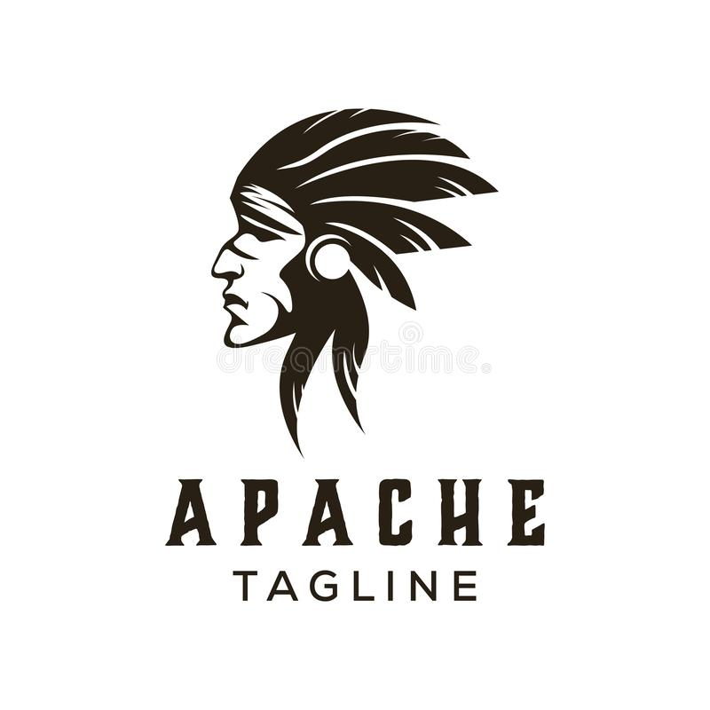 American Native Chief Head Stock Vector. Illustration Of