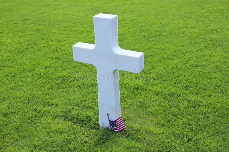 American cemetery of omaha beach in normandy stock image