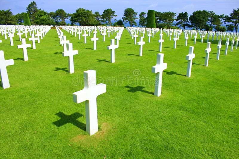 American cemetery of omaha beach in normandy royalty free stock photography