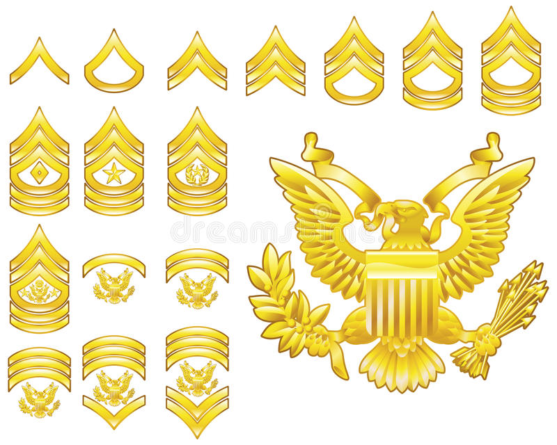 Download American Army Enlisted Rank Insignia Icons Stock Vector - Illustration of america, captain: 10189073