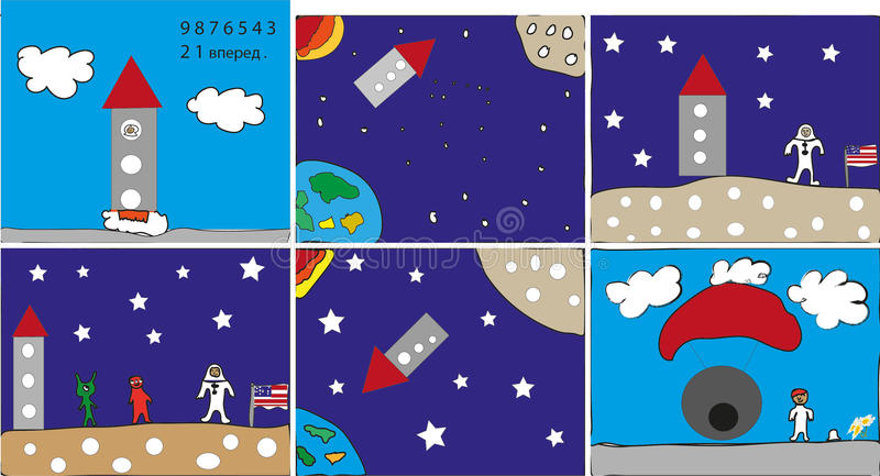 American astronaut space adventure royalty free illustration