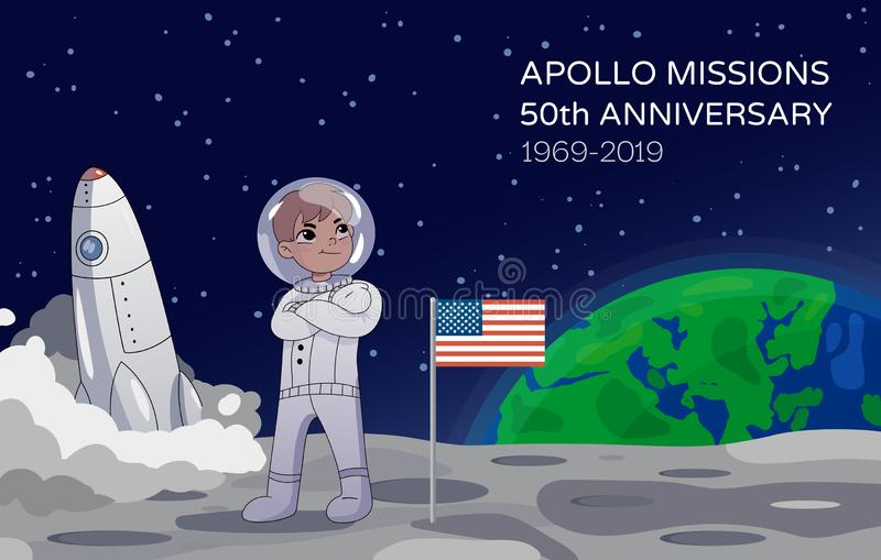 American astronaut standing on the moon alongside the USA flag with a rocket in the background commemorating the Apollo stock illustration