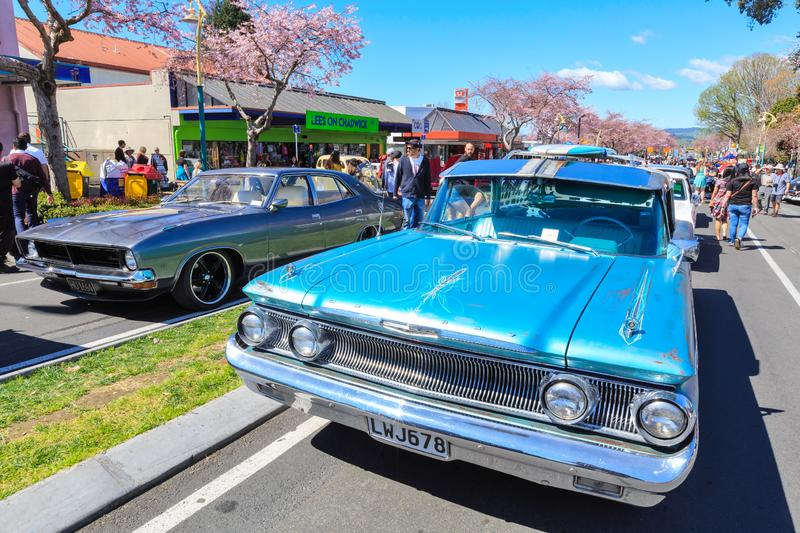 American and Australian cars of the 1960s and 1970s at a classic car show royalty free stock images