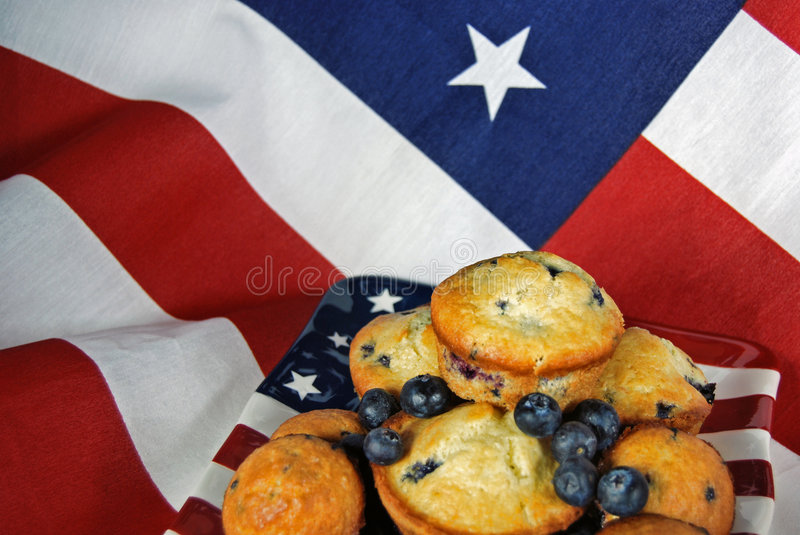 blueberry muffins on flag royalty free stock images