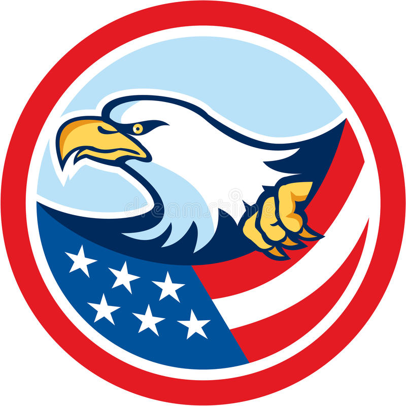 American Bald Eagle Clutching Flag Circle Retro vector illustration
