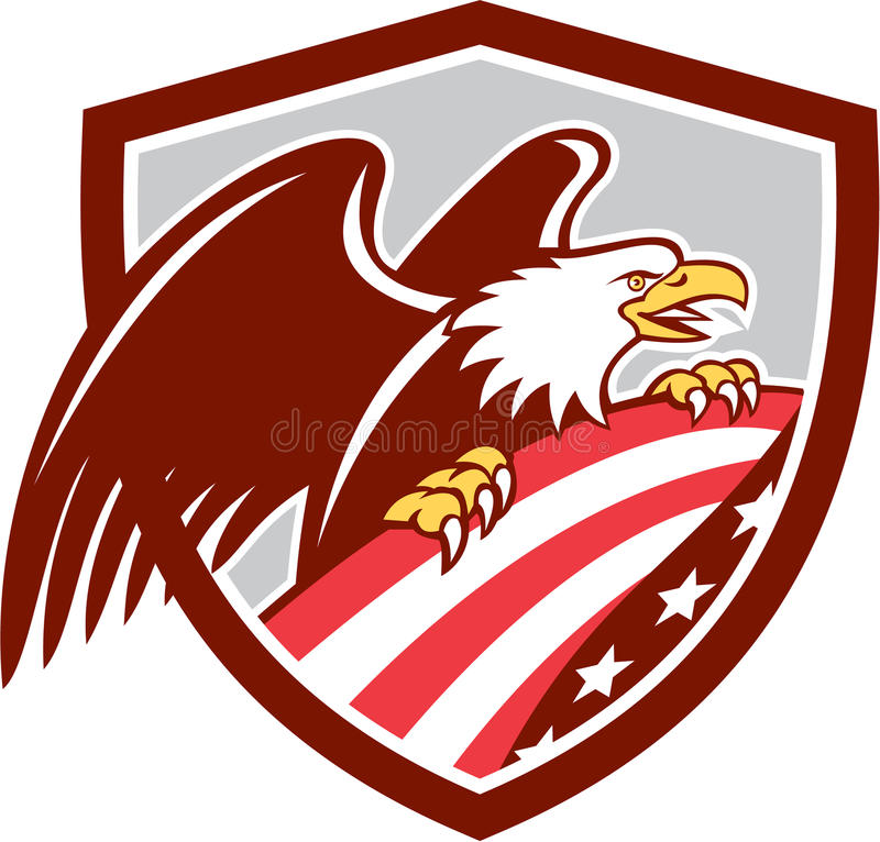 American Bald Eagle Clutching USA Flag Shield Retro stock illustration