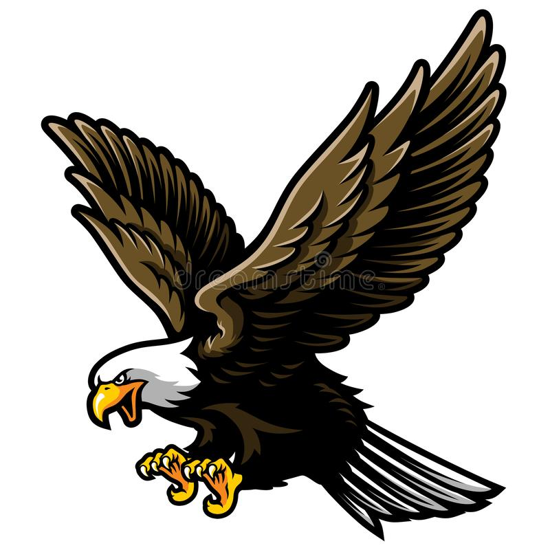 American Bald Eagle with Open Wings and Claws in Cartoon Style vector illustration