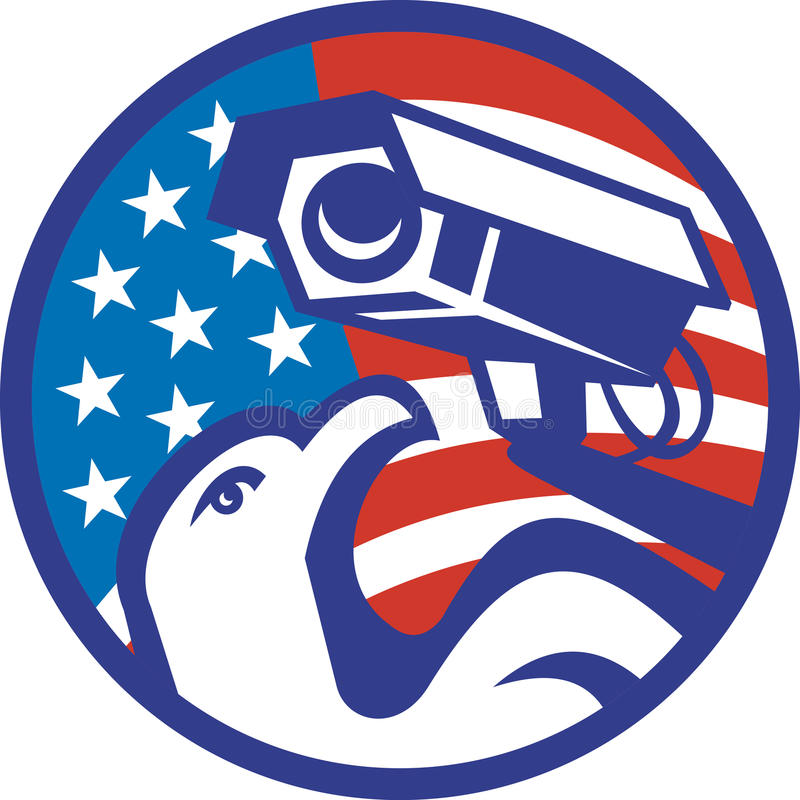 American Bald eagle Security Camera vector illustration