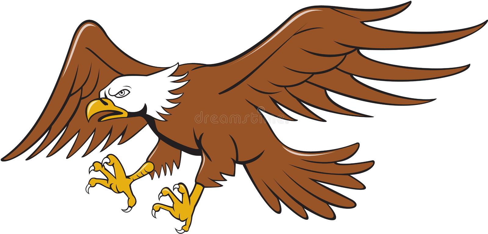 American Bald Eagle Swooping Cartoon royalty free illustration