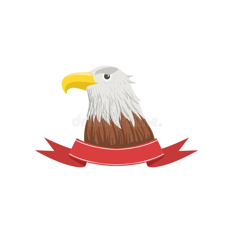 American Bald Eagle, USA emblem with bird and ribbon vector Illustration on a white background stock illustration