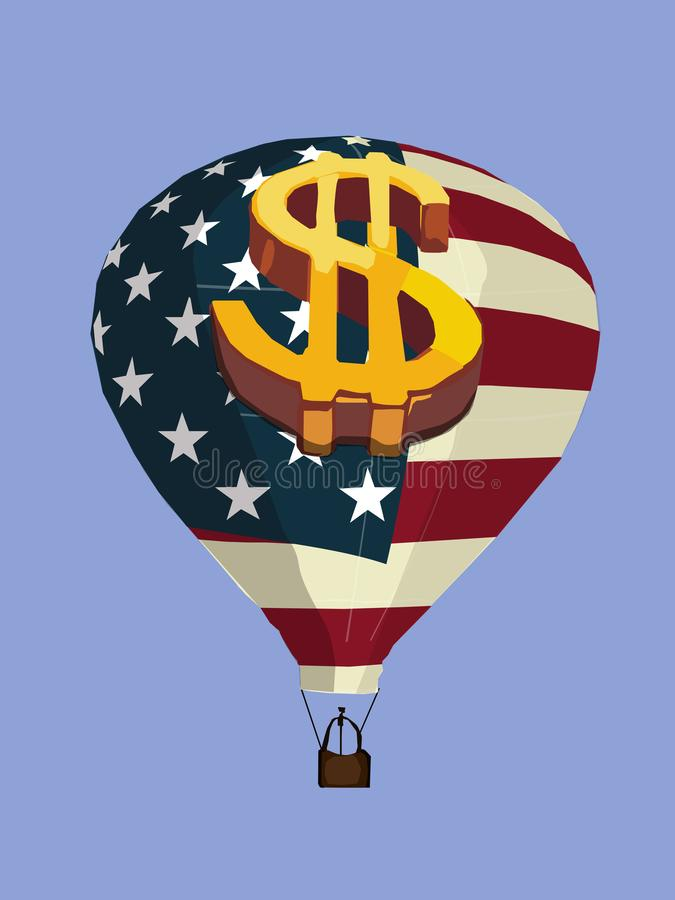 American Ball. The balloon with the American flag as the drawing on it. The balloon flies against the background of a blue clear sky stock illustration