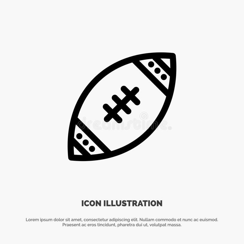 American, Ball, Football, Nfl, Rugby Line Icon Vector royalty free illustration