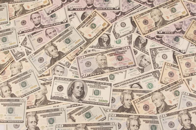 American banknotes. Closeup of assorted American banknotes stock images