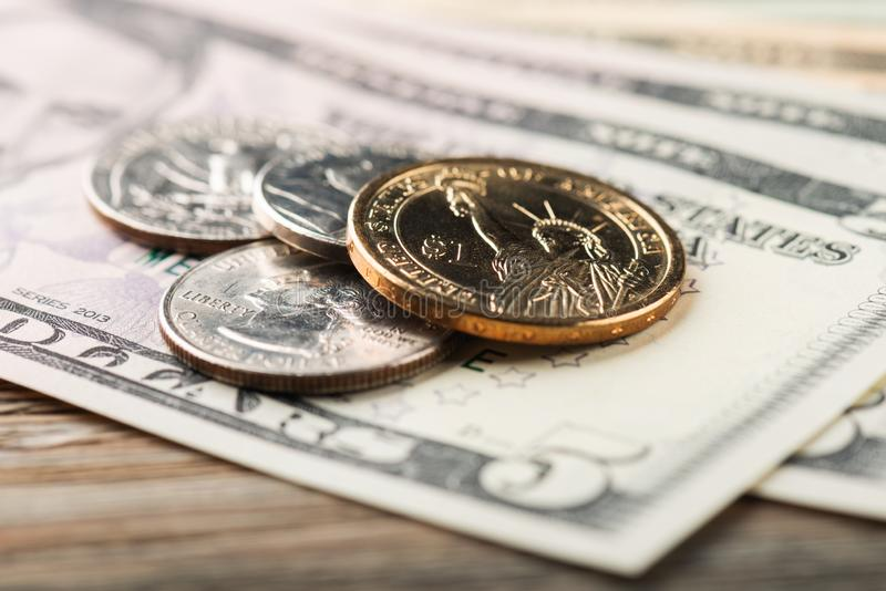 American banknotes and coins. American banknotes and us coins royalty free stock photography