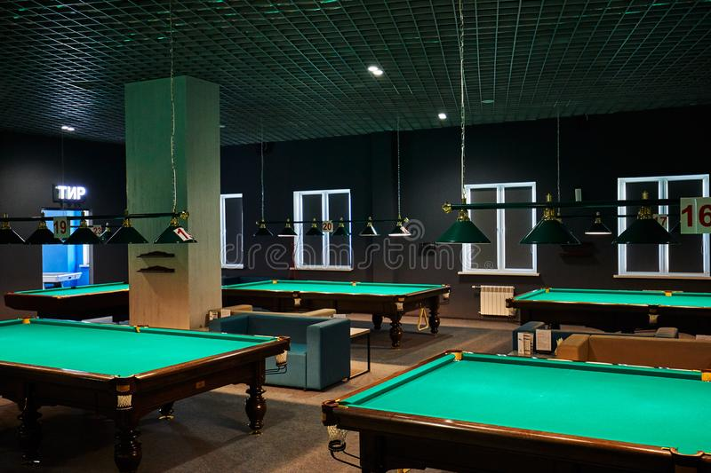 Minsk, Belarus, 02.02.2019: American billiards and pool, billiards tables interior royalty free stock images