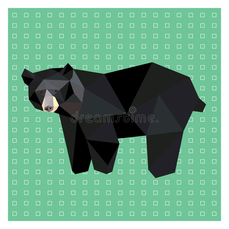 American black bear. Low poly design on green and white background. Animal card design vector illustration