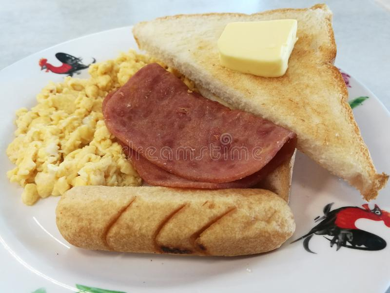 American Breakfast. The famous American breakfast to start your sunny day royalty free stock image