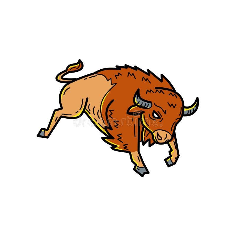 American Buffalo Jumping Mono Line. Mono line illustration of an American bison, American buffalo or simply buffalo, a North American species of bison, jumping stock illustration