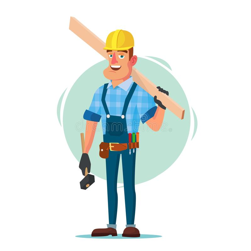 Timber Frame House Construction Worker Vector. Construction Worker On Framing A Building. Isolated Flat Cartoon. American Builder Vector. Building Timber Frame stock illustration